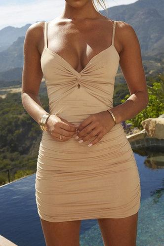 front_Elena Elaine Khaki Ruched Dress
