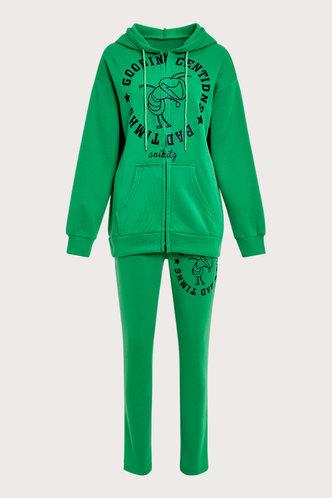 back_Letter Pocket Zipper Up Green Sweatshirt Sets