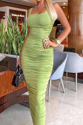 front_Norene Elma Green Bodycon Ruched Dress