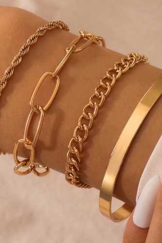 front_Amber Elsie Gold Chiam Bracelet 4pcs