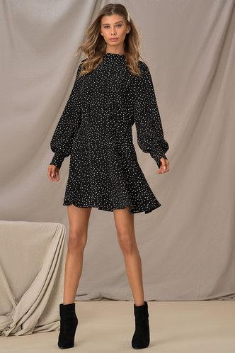 back_Downtown Black Polka Dot Ruffle Hem Dress