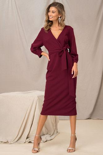 front_For Show Burgundy Surplice Wrap Dress