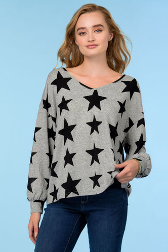 back_Shooting Grey Star Floral Print Knit Top
