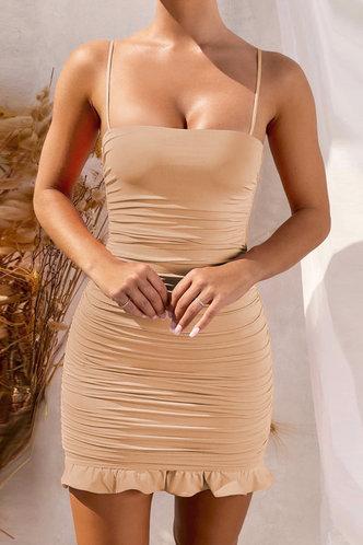 front_Deane Edith Khaki Flounce Hem Dress