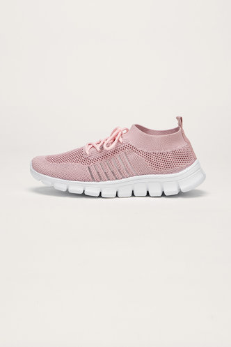 back_Honey Edith Pink Lace Up Front Mesh Sneakers