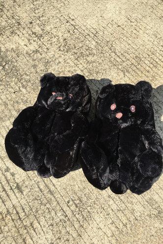 back_Plain Flat Black Slippers