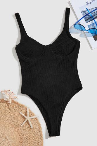 back_Freda Eden Black One-Piece Swimsuit