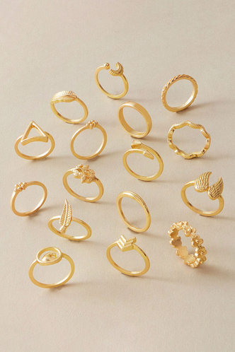 front_Daisy Elma Gold Engraved Ring 11pcs