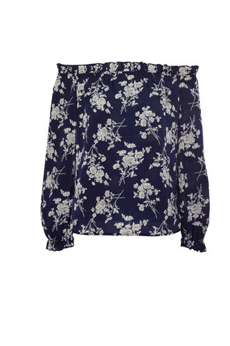 front_Flirt And Flourish Navy Blue Floral Bardot Top