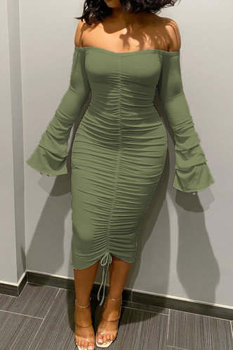 front_Sophie Ella Army Green Ruched Rib Knit Dress