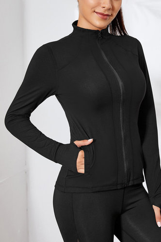 front_Cecilia Edwina Black Activewear Top