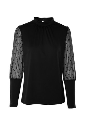 front_Afternoon Delight Black Sheer Sleeve Top