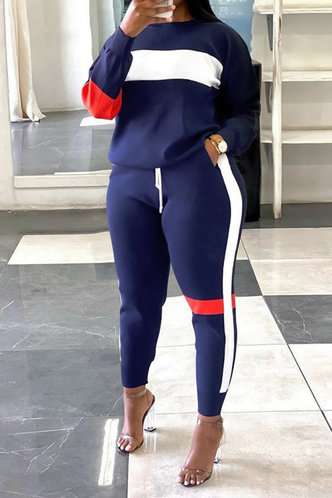 back_Colorblock   And Navy Blue Plus Size Pants Sets