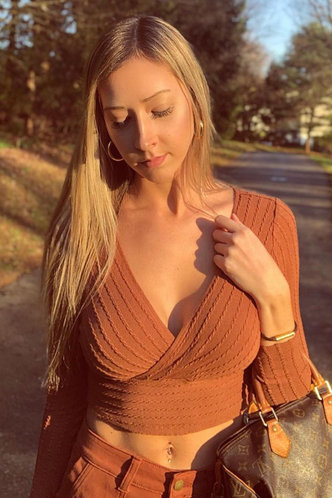 front_Just Friends Brown Knit Crop Top