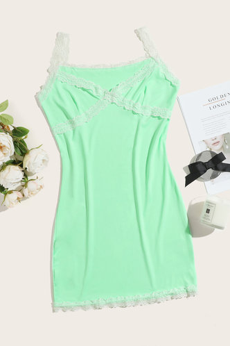 back_Colette Elsie Mint Green Lace Trim Dress