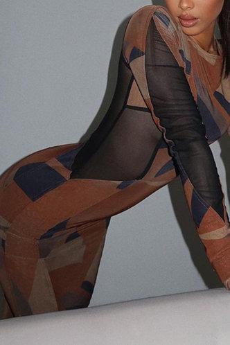 front_Lili Elizabeth Brown Geo Print Bodycon Dress