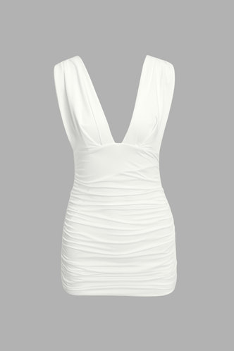 back_Dagmar Eileen White Ruched Dress