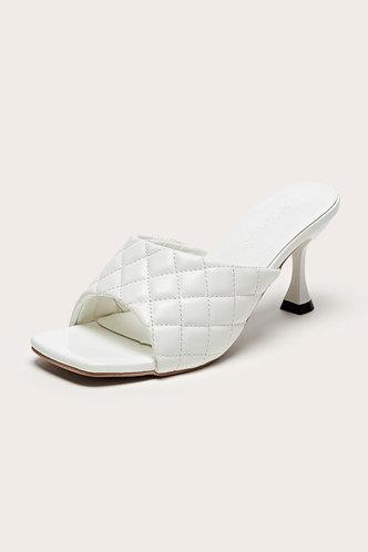 back_Square Toe Mid Heel White Sandals