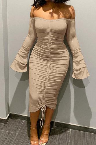 front_Sophie Ella Khaki Ruched Rib Knit Dress