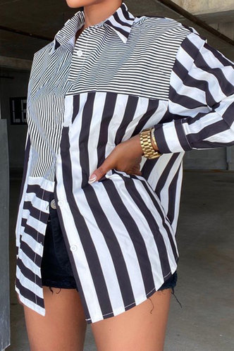 front_Hazel Esther Striped Button Up Oversized Blouse