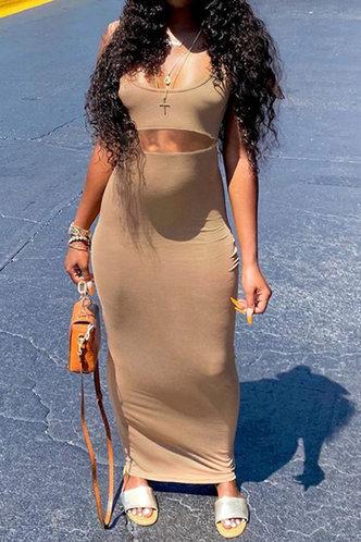 front_Marjory Emily Khaki Cutout Dress