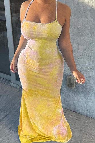 front_Deane Elma Yellow Tie Dye Halter Bodycon Dress