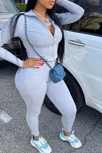 back_Plain Zipper Up Light Grey Pants Sets