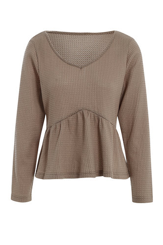 front_Beach Drive {color} Knit Peplum Top