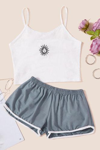 front_Elvira Montril White And Grey Loungewear Set