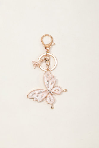 front_Magnolia Elvira Gold Butterfly Charm Keychain