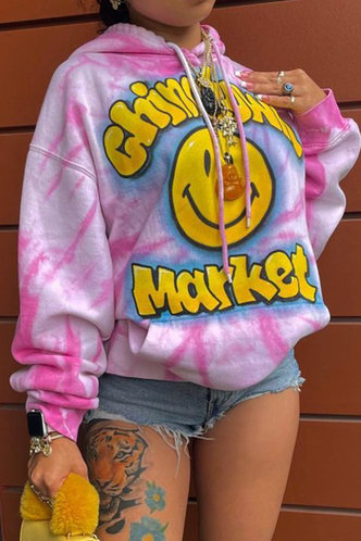 front_Etta Evangeline Pink Tie Dye Drawstring Pocket Hoodie