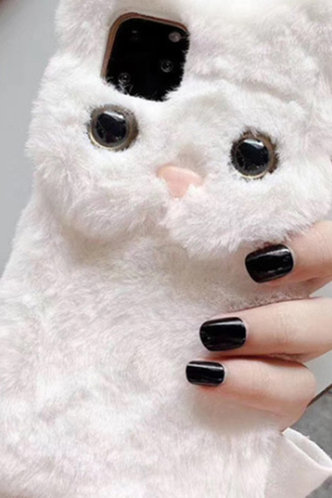 back_Bunny Style Faux Fur White Cases