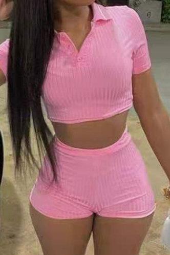 front_Haley Eunice Pink Shorts Set