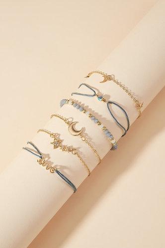 front_Mona Edith Gold Star & Moon Assorted Bracelet Set 6pcs
