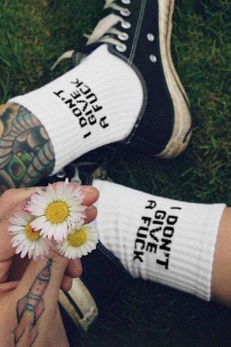 front_1pc Letter  Knee Socks White Socks & Tights