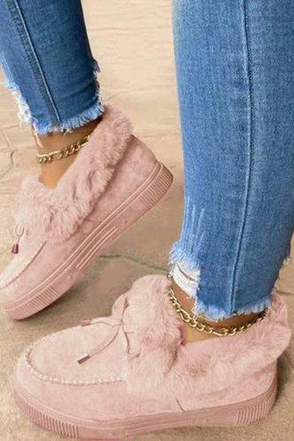 back_Plain Flat Round Toe Pink Boots