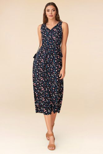 back_Made for You Dark Navy Floral Print Jumpsuit