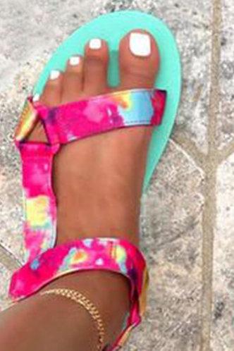 back_Open Toe Flat Tie Dye Sandals