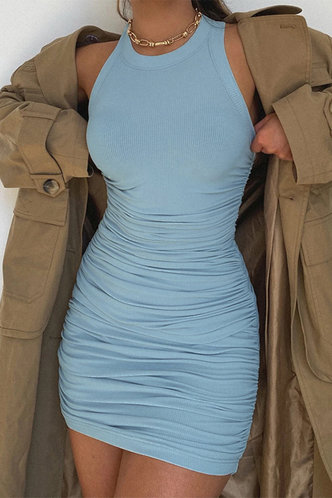 back_Carmelita Blue Ruched Dress