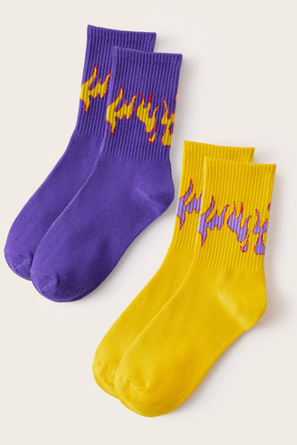 front_Janetta Ella Purple And Yellow Socks 2pairs
