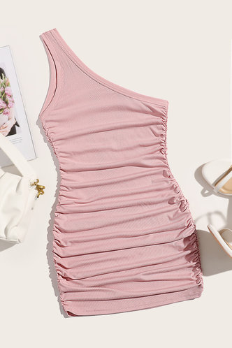 back_Regan Edith Baby Pink One Shoulder Ruched Dress