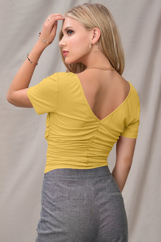 back_Thousands Kisses Yellow Short Sleeve Top