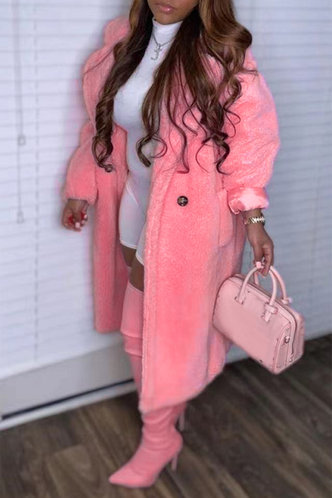 back_Casual Street Lapel Neck Pink Outerwear