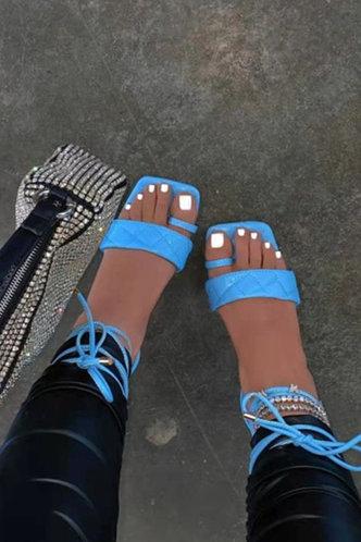 front_Jacquetta Emma Blue Slide Sandals
