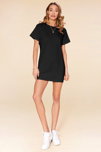 front_Call Me Angel Black Mini Dress