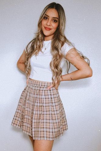 front_Butterscotch Khaki Plaid Skirt