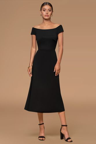 front_Magic Motion Black Midi Dress