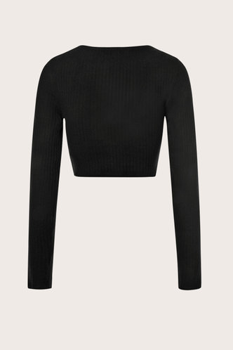 back_Heatin' Up Black Wrap Long Sleeve Top
