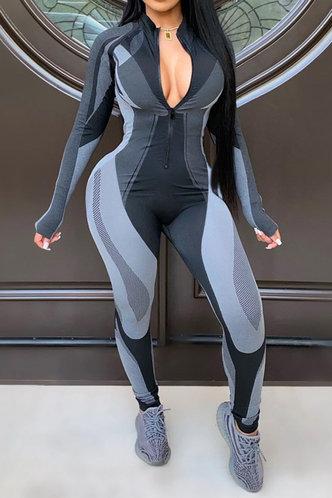 front_Elisabeth Elva Grey Colorblock Jumpsuit