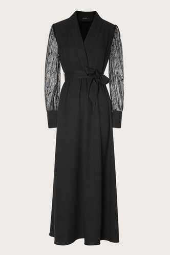 front_Run Away With Me Black Sheer Sleeve Maxi Dress